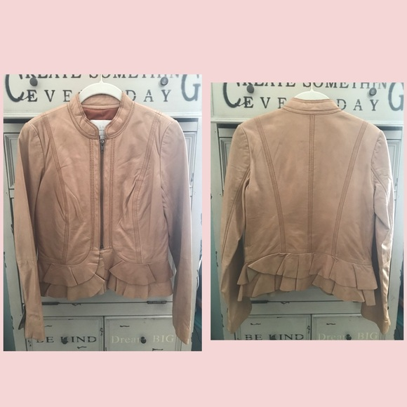 Camel Ruffle Accent Leather Crop Jacket